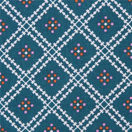 81ad9891388 teal cute square pattern Cloud 9 organic cotton fabric Stay Gold ...
