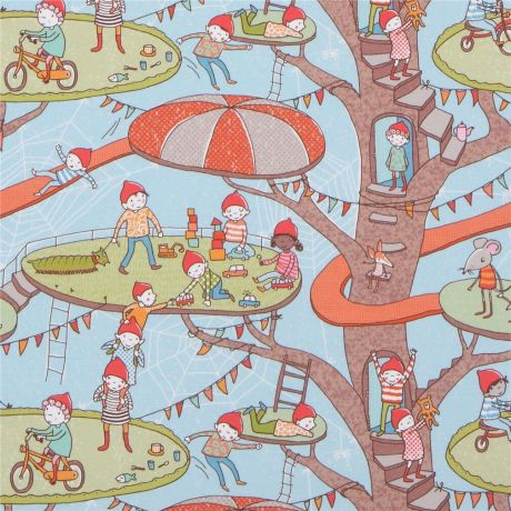 tree gnome organic jersey knit fabric in blue by Lillestoff 232628 1