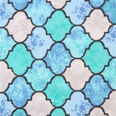 Turquoise Blue Ceramic Tile Pattern Fabric Tangier By Michael Miller Usa