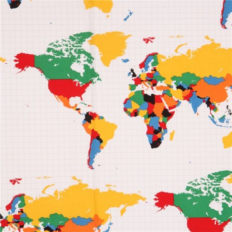 White Riley Blake Colorful World Map Fabric Our World Kawaii - Colorful world map