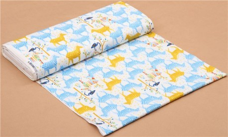 white Show Your Colors Origami zebra fabric yellow-blue Michael ...