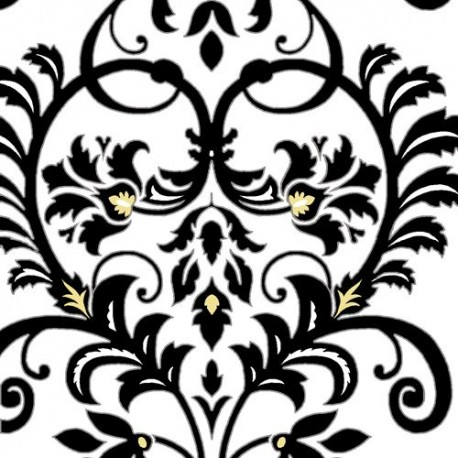 White Black Yellow Flower Leaf Pattern Fabric By Henry Glass