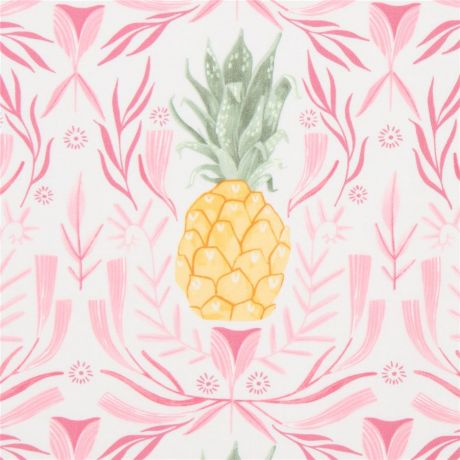 White Fabric By Dear Stella With Pineapples Kawaii Fabric Shop