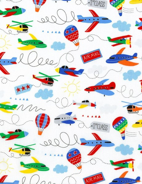 White fabric with airplane transport by timeless treasures for Airplane print cotton fabric