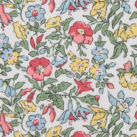 White Fabric With Colorful Flower Garden By Liberty Fabrics Kawaii