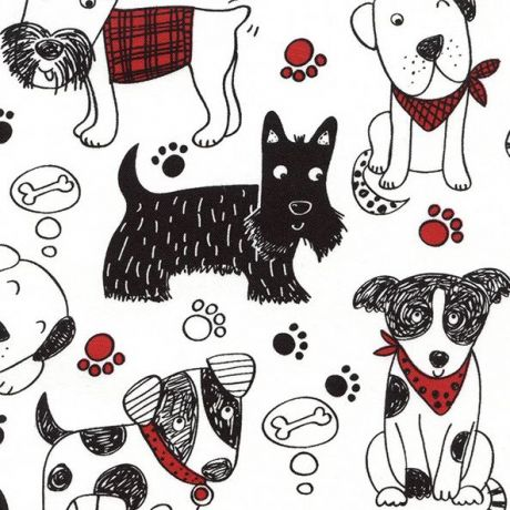 White Fabric With Cute Dog Paw Print By Timeless Treasures Kawaii