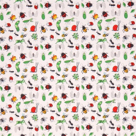 white grasshopper ant ladybird insect fabric Garden Critters Blank