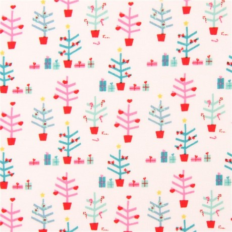 white with cute small christmas tree fabric by copenhagen print