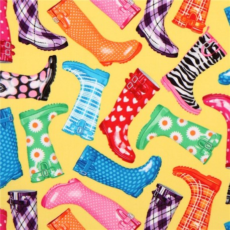 f1e88dbd1424 yellow rubber boots wellies fabric Timeless Treasures USA - Kawaii ...